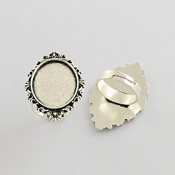 fer réglable composants de bague vintage paramètres de lunette alliage cabochon, sans plomb et sans cadmium, argent antique, 17x5 mm; plateau ovale: 25x18 mm(X-PALLOY-Q300-12AS-NR)