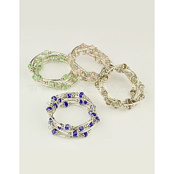 Bracelets enroulés à la mode, avec des perles de verre rondelles, Coupelles de style tibétain , laiton perles de tubes et de fils d'acier de la mémoire, couleur mixte, diamètre intérieur: 55 mm(BJEW-JB00628)