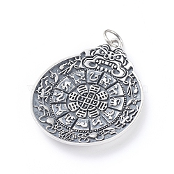 925 Thai Sterling Silver Big Pendants, with Jump Rings, Nine Palaces Gossip 12 Zodiac Animal Brand, Teardrop, Antique Silver, 51x44x4mm, Hole: 8mm(STER-G030-01AS)