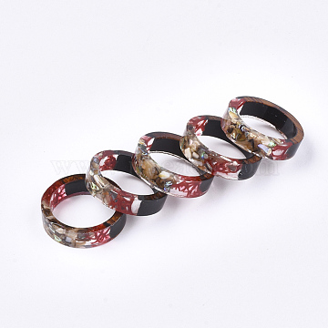 Epoxy Resin & Ebony Wood  Rings, with Dried Grass and Shell, Goldr Foil, Colorful, 17mm(RJEW-S043-06B-01)