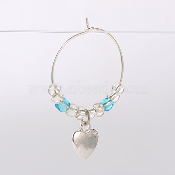 Tibetan Style Heart Wine Glass Charms, with Glass Seed Beads and Brass Hoop Earrings, Antique Silver, Deep Sky Blue, 39mm, Pin: 0.7mm(AJEW-JO00022-01)