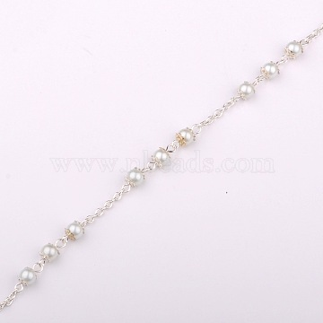 Handmade Round Glass Pearl Beads Chains for Necklaces Bracelets Making, with Iron Beads Casps, Iron Cable Chains and Iron Eye Pin, Unwelded, Silver Color Plated, White, 39.3 inches(X-AJEW-JB00056-01)