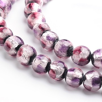 Handmade Silver Foil Glass Round Beads, Thistle, 8mm, Hole: 1mm(X-FOIL-I005-02B)