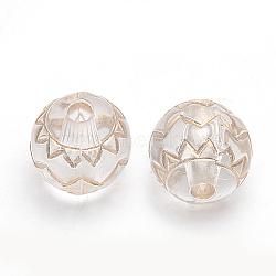 Perles acryliques plaquées or, métal enlacée, rond, clair, 9.5mm, Trou: 1.5mm(X-PACR-S219-02)