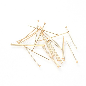304 Stainless Steel Flat Head Pins, Golden, 25x0.7mm, Head: 1.5mm(STAS-G205-01C-G)
