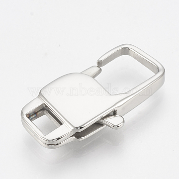 316 Surgical Stainless Steel Lobster Claw Clasps, Rectangle, Stainless Steel Color, 22x11x3.5mm, Hole: 2x5mm(X-STAS-T033-28D)