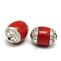 Perles de style tibétain manuelles, argent sterling thai avec turquoise ou la cire d'abeille, baril, argent antique, DarkRed, 32.5x22.5mm, Trou: 2mm(TIBEB-K023-03A)