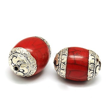 Handmade Tibetan Style Beads, Thai 925 Sterling Silver with Turquoise or Beeswax, Barrel, Antique Silver, Dark Red, 32.5x22.5mm, Hole: 2mm(TIBEB-K023-03A)