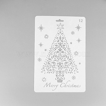 Creative Christmas Plastic Drawing Stencil, Hollow Hand Accounts Ruler Templat, For DIY Scrapbooking, White, 25.9x17.2cm(X-DIY-L007-12)