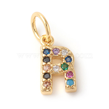 Golden Colorful Alphabet Brass+Cubic Zirconia Charms