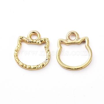 Zinc Alloy Open Back Bezel Pendants, For DIY UV Resin, Epoxy Resin, Pressed Flower Jewelry, Cat Shape, Golden, 11.5x10x1.5mm, Hole: 1.6mm(X-PALLOY-E577-06G)