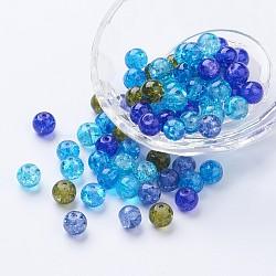 Perles de verre craquelé peintes, océan mix, rond, couleur mixte, 8~8.5x7.5~8mm, trou: 1 mm; environ 100 PCs / sachet (DGLA-X0006-8mm-01)