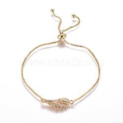 """Bracelets bolo réglables en laiton, Bracelets coulissants, chaînes de boîte, Avec de l'opale synthétique et de la zircone cubique, ailier, blanc, 9-3/4"""" (24.7 cm), 1mm(BJEW-L618-05G-D)"""
