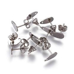 304 conclusions de boucles d'oreille en acier inoxydable, avec plaque plate, larme, couleur inox, 10x6x0.5 mm, trou: 1 mm; broches: 0.7 mm(STAS-O119-11A-P)