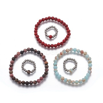 Natural & Synthetic Mixed Stone Jewelry Sets, Stretch Bracelets and Finger Rings, with 304 Stainless Steel Beads, 1-7/8inches~2-1/8inches(4.9~5.5cm); Size 7~8,17~18mm(SJEW-H584-20)