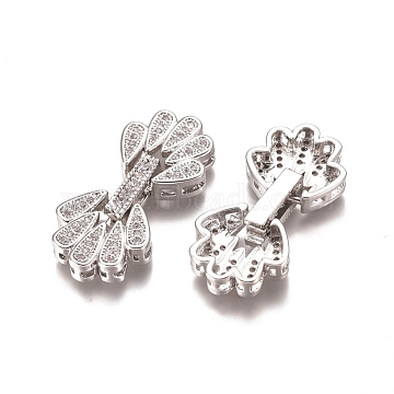 Brass Micro Pave Clear Cubic Zirconia Fold Over Clasps, Flower, Platinum, 28x13x5mm, Hole: 1mm(ZIRC-I038-34P)