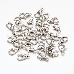 Platine plaqué alliage homard fermoirs griffe pour les bijoux en métal bricolage, sans nickel, taille: environ 12 mm de long, Trou: 1.2mm(X-E102-NF)