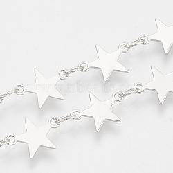 chaînes de perles en laiton faites à la main, soudé, avec bobine, étoiles, Platine plaqué, 3.7x3x0.3 mm; sur 25 m / rouleau(CHC-S002-03)
