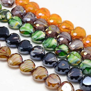 Handmade Millefiori Glass Bead Strands, Faceted, Heart, Mixed Color, 16x16x8mm, Hole: 1mm(LK-F001-M1)