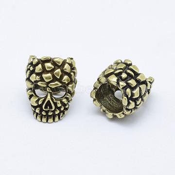Brass Skull Mask Beads, Long-Lasting Plated & Environmental , Cadmium Free & Nickel Free & Lead Free, Antique Bronze, 18x14x14.5mm, Hole: 9mm(KK-P130-063AB-NR)