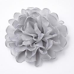 Pinces à cheveux en dentelle de fleur d'alligator, Avec des crochets d'alligator de fer, platine, grises , 100mm(OHAR-Q253-08)