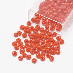 TOHO&reg Japanese Fringe Seed Beads, Opaque Glass Round Hole Rocailles Seed Beads, OrangeRed, 6x5.5~5.8mm, Hole: 2mm; about 33pcs/10g(X-SEED-R039-01-MA50)
