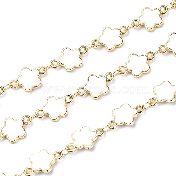 Handmade Alloy Enamel Flower Link Chains, with Spool, Soldered, Long-Lasting Plated, Lead Free & Cadmium Free, Golden, White, 13x7.7x1.7mm(ENAM-F138-04C-RS)