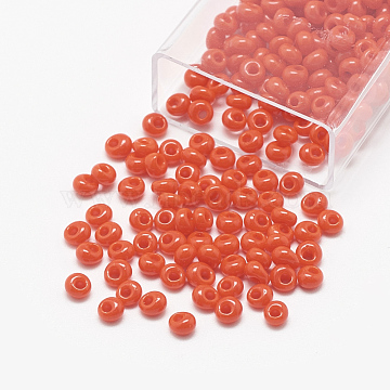 TOHO Japanese Fringe Seed Beads, Opaque Glass Round Hole Rocailles Seed Beads, Orange Red, 6x5.5~5.8mm, Hole: 2mm, about 33pcs/10g(X-SEED-R039-01-MA50)