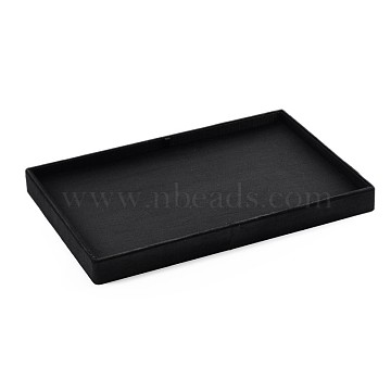 Wooden Jewelry Presentation Boxes, Covered with Cloth, Black, 35x24x3cm(ODIS-N021-05A)