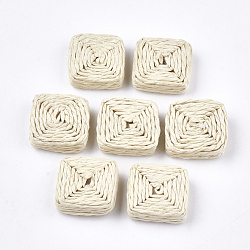Handmade Woven Beads, Paper Imitation Raffia Covered with Wood, No Hole/Undrilled, Square, AntiqueWhite, 22~23x22~23x7~8mm(X-WOVE-T006-134)
