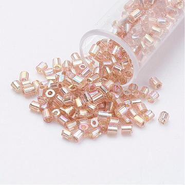 11/0 Two Cut Round Hole Glass Seed Beads, Hexagon, Silver Lined, Rainbow Plated, BurlyWood, 2x2mm, Hole: 0.5mm; about 41000pcs/pound(SEED-G006-2mm-639)