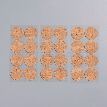 Round Shape Cork Label Stickers, Self Adhesive Craft Stickers, for DIY Art Craft, Scrapbooking, Greeting Cards, Sandy Brown, 30mm; 8pcs/sheet, 3sheets/bag(X-DIY-WH0163-93D)