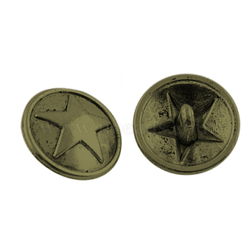 Tibetan Style Alloy Shank Buttons, Cadmium Free & Nickel Free & Lead Free, Flat Round with Star, Antique Bronze, 15x7mm, Hole: 2mm(TIBE-A12-3390-AB-FF)