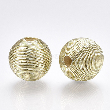 Polyester Cord Fabric Beads, with Wood Inside, Round, Gainsboro, 14~15x13~14mm, Hole: 2~3mm(X-WOVE-S117-14mm-04)