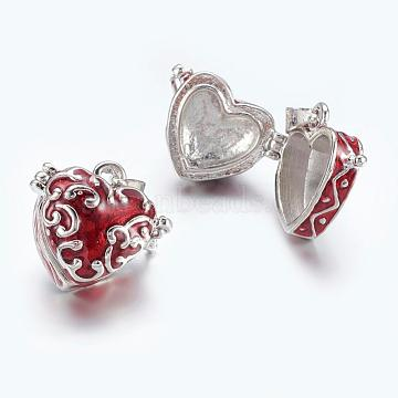 Platinum DarkRed Heart Brass Pendants