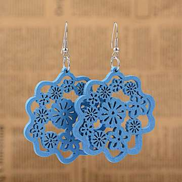 Perfect Design Filigree Flower Wood Dangle Earrings, with Platinum Plated Iron Earring Hooks, RoyalBlue, 73mm; Pin: 0.8mm(X-EJEW-I180-06)