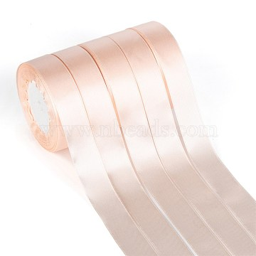 Single Face Solid Color Satin Ribbon, for Gift Packaging, Party Decoration, PeachPuff, 1 inches(25~26mm); about 25yards/roll(22.86m/roll), 5rolls/group; 125yards(114.3m/group)(SRIB-S051-25mm-007)