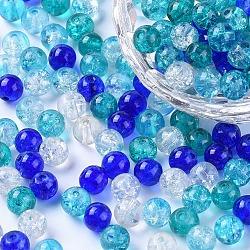 Perles de verre craquelé peintes, carribean bleu mix, rond, couleur mixte, 6~6.5x5.5~6mm, trou: 1 mm; environ 200 PCs / sachet (DGLA-X0006-6mm-11)