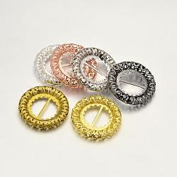 Laiton anneau creux robe boucles de chaussures, couleur mixte, 23x4mm, Trou: 10x5.5mm(X-KK-E639-07)