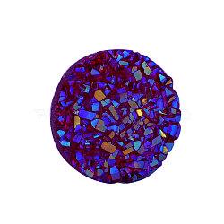 Cabochons en résine, imitation druzy agate, plat rond, de couleur plaquée ab , bleu, 12x3mm(X-CRES-Q191-HA027-3)