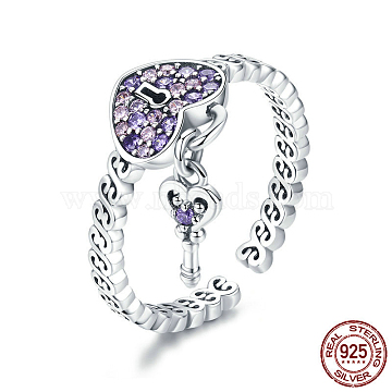 925 Sterling Silver Cuff Rings, Open Rings, with Cubic Zirconia, Carved 925, Heart Lock with Key, Antique Silver, Size 6, 16mm(RJEW-FF0010-09AS)