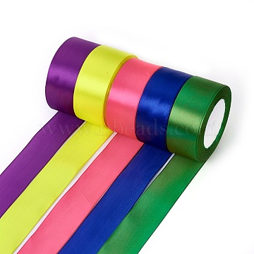 Satin Ribbon, Mixed Color, about 1-1/2 inches(37mm) wide, 25yards/roll(22.86m/roll), 5rolls/group(SRIB-RC37MMY-M)