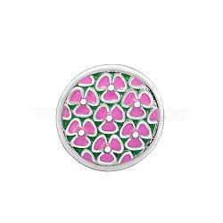 Boutons pression de bijoux d'émail en alliage , plat et circulaire avec fleur, argent antique, violette, 20mm(PALLOY-Q326-VNC041-1)