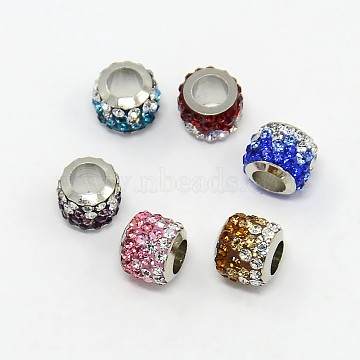 Brass Pave Polymer Clay Grade A Rhinestone Column European Beads, Mixed Color, 8.5x7.5mm, Hole: 5mm(X-CPDL-L001-01)