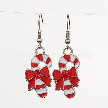 Christmas Candy Alloy Enamel Dangle Earrings, with Brass Earring Hooks, Red & White, 43mm; Pin:0.6mm(X-EJEW-JE01599-02)