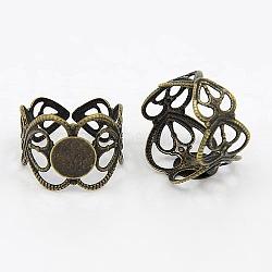 Jarret d'anneau réglable en laiton, accessoires de bague en filigrane, rond, bronze antique, plateau: 8 mm; 17 mm(KK-H069-AB)