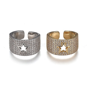 Brass Micro Pave Clear Cubic Zirconia Cuff Rings, Open Rings, Cadmium Free & Lead Free, Hollow Star, Mixed Color, US Size 7(17.3mm)(RJEW-H538-14)