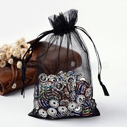 органза сумки, мешочки на шнурке, свадебные подарочные пакеты партия рождественские подарочные пакеты, с лентами, черный, 15x10 cm