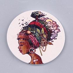 Gros pendentifs en bois imprimés, teint, rond plat avec dame de la mode, colorées, 60x2.5mm, Trou: 1.5mm(X-WOOD-S048-60)