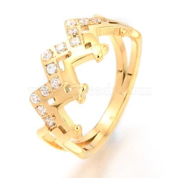 304 Stainless Steel Finger Rings, with Crystal Rhinestone, Wave, Golden, US Size 7, Inner Diameter: 17mm(RJEW-J071-02G-7)